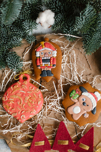 High angle view of Christmas decorationsの写真素材 [FYI03728441]