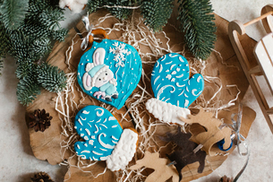 High angle view of cookies on table during Christmasの写真素材 [FYI03728442]