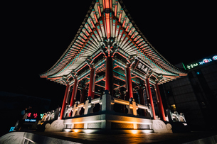 Low angle view of Pavilion at Hwaseong Fortress against sky at nightの写真素材 [FYI03728508]