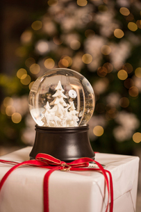 Close-up of snow globe on Christmas presentの写真素材 [FYI03728787]