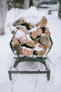 Stack of snow covered chopped wood on sledgeの写真素材 [FYI03730186]