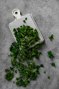 Overhead view of chopped vegetable with cutting board on tableの写真素材 [FYI03731295]