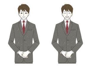 男性-スーツ-笑顔-上半身のイラスト素材 [FYI03732231]