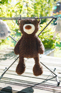 Close-up of stuffed toys drying on clotheslineの写真素材 [FYI03733617]