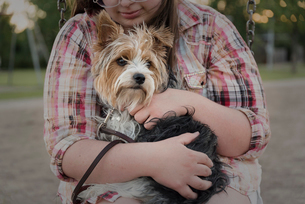 Midsection of teenage girl carrying Yorkshire Terrier at playgroundの写真素材 [FYI03734492]