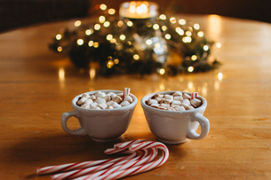 Close-up of marshmallows in drinks by candy canes on table during Christmasの写真素材 [FYI03734612]