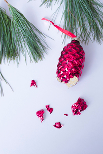 Close-up of broken Christmas Decoration with pine needles over white backgroundの写真素材 [FYI03735039]