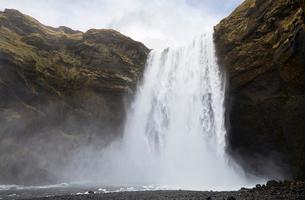 Idyllic view of Skogafoss Waterfallの写真素材 [FYI03736992]