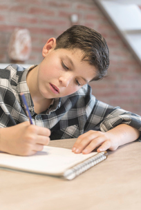 Boy coloring on spiral notebook at tableの写真素材 [FYI03737291]