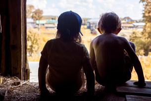 Rear view of siblings sitting on hay in wooden barnの写真素材 [FYI03740238]