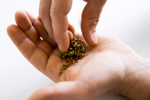 Cropped hands of man mixing marijuana joints and tobacco productの写真素材 [FYI03742362]