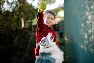 Boy playing with dog while standing at yardの写真素材 [FYI03743695]