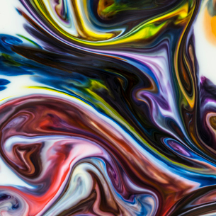 Macro shot of colorful abstract backgrounds of colors, milk and dishwashing liquidの写真素材 [FYI03747303]