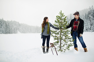 Happy couple holding pine tree while standing on snow covered field against sky in forestの写真素材 [FYI03748256]