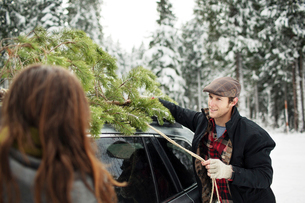 Boyfriend looking at girlfriend while tying pine tree on car roof in snow covered forestの写真素材 [FYI03748262]