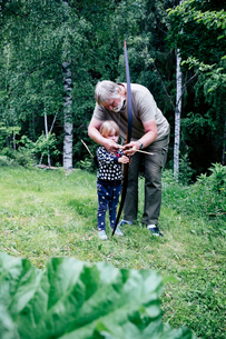 Grandfather guiding granddaughter in aiming arrow while standing on grassy field at forestの写真素材 [FYI03750812]