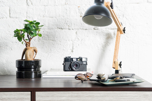 Various objects on table at homeの写真素材 [FYI03752592]