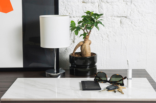 Close-up of lamp and houseplant by accessories on marble at tableの写真素材 [FYI03752594]