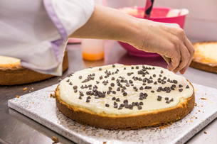 Cropped hand of female baker decorating cake with chocolate chips on kitchen counter at laboratoryの写真素材 [FYI03753501]
