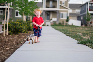Portrait of cute baby boy with puppy standing on footpath in parkの写真素材 [FYI03754579]