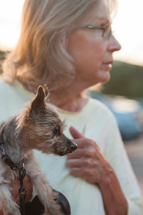 Senior woman carrying puppy while looking away outdoors during sunsetの写真素材 [FYI03754580]