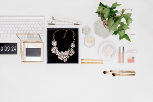 Overhead view of personal accessories with technology and plant arranged on white backgroundの写真素材 [FYI03754796]