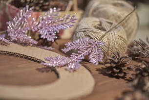 Beautiful decor making a wreath of cones to celebrate Christmasの写真素材 [FYI03756463]