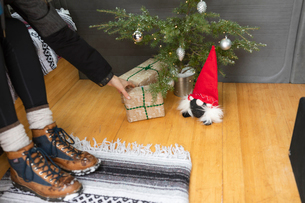 Woman reaching for present under small Christmas treeの写真素材 [FYI03756802]