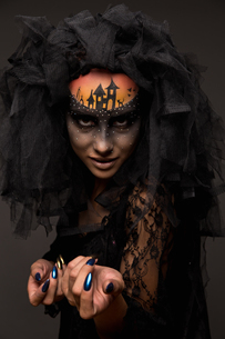 Halloween devil's bride with scary gothic makeupの写真素材 [FYI03757474]