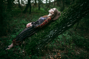 woman lying on a tree looking at the skyの写真素材 [FYI03757834]