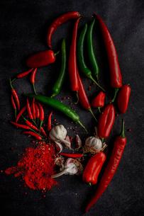 Garlic chili powder and green and red chili ingredientの写真素材 [FYI03758318]