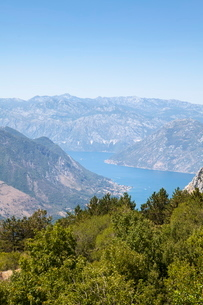 Views of the Bay of Kotor, just outside of Lovcen Nation Park, Njegusi, Montenegroの写真素材 [FYI03759539]