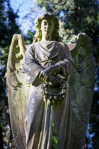 Angel holding wreath, Highgate Cemetery westの写真素材 [FYI03759611]
