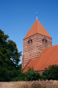 Stege church dating from the 15th century, Stege, Mon, Denmark, Scandinaviaの写真素材 [FYI03759691]