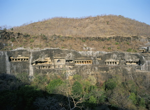 Early morning view of the caves, Ajanta, Maharashtra stateの写真素材 [FYI03759782]
