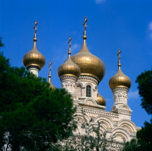 Russian Church, Mount of Olives, Jerusalem, Israel, Middle Eastの写真素材 [FYI03759841]