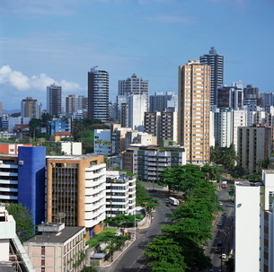 High rise buildings on the city skyline of Salvador in Bahia state in Brazilの写真素材 [FYI03760073]