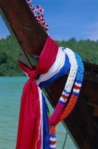 Detail of a long tailed boat, Phi Phi Don Island, Krabi Province, Thailandの写真素材 [FYI03760249]