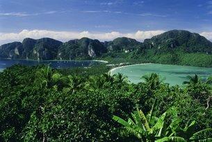 Elevated view of double bays of Ao Ton Sai and Ao Dalam, Phi Phi Don Island, Phuket Province, Thailaの写真素材 [FYI03760526]