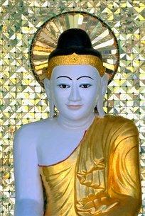 Buddha image, Shwedagon Paya (Shwe Dagon Pagoda)の写真素材 [FYI03760640]