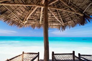 Beach parasol overlooking Indian Ocean, Jambiani beach, island of Zanzibar, Tanzaniaの写真素材 [FYI03761199]