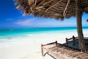 Beach parasol overlooking Indian Ocean, Jambiani beach, island of Zanzibar, Tanzaniaの写真素材 [FYI03761200]