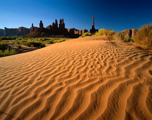 Totem Pole and Sand Springs, Monument Valley Tribal Park, Arizona'の写真素材 [FYI03761282]