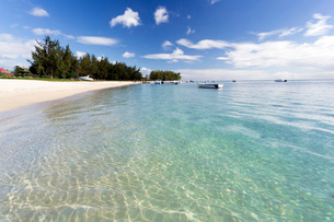 View along Flic en Flac Beach showing the clear shallows of the Indian Ocean, blue sky and white sanの写真素材 [FYI03761410]