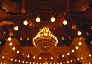 Inside the Blue Mosque, Istanbul, Turkeyの写真素材 [FYI03761554]