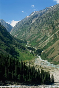 The Ala-Archa Canyon in the Tien Shan mountains in Kyrgyzstanの写真素材 [FYI03762001]