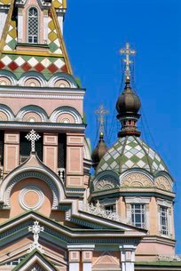 Zenkov Cathedral, 1904, made of wood with no nails, Alamty, Kazakhstanの写真素材 [FYI03762009]