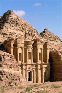 Rock-cut facade of the Monastery (El Deir), Nabatean archaeological site, Petra, Jordan, Middle Eastの写真素材 [FYI03762035]