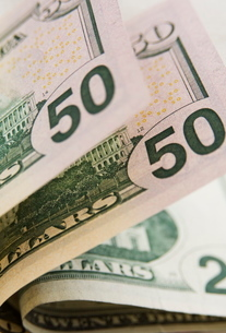 US currency, 50 and 20 dollar billsの写真素材 [FYI03762054]
