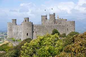 Harlech Castle, dating from the 13th and 14th centuries, Walesの写真素材 [FYI03762347]